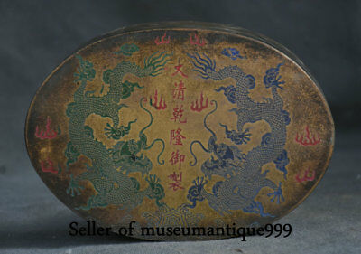 """6"""" Qianlong Marked Old China Bronze Painted Dynasty Dragon ink cartridge Box"""