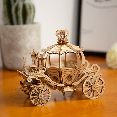 DIY Pumpkin Cart Wooden Crafts Modern Building Kits Assembly Toy Home Decor