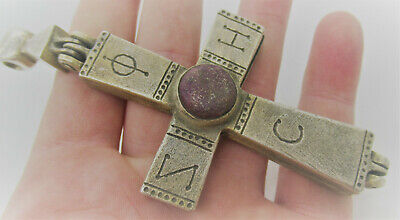 Ancient Byzantine Silvered Encolopion Cross With Monograms And Stone Superb