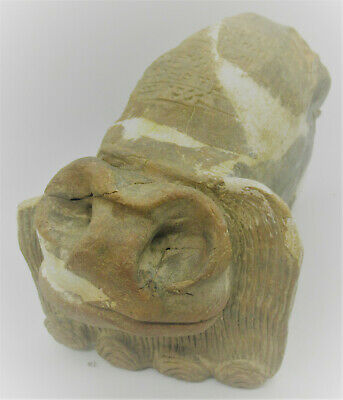 Scarce Circa 3000Bce Ancient Near Eastern Clay Beast With Early Form Of Writing