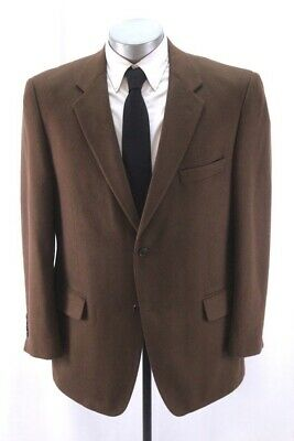 mens brown TASSO ELBA blazer jacket 100% CASHMERE sport suit coat classic 44 R