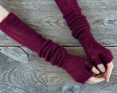 Dark red burgundy long mohair fingerless mittens opera gloves elbow length women