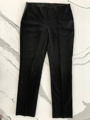 CHICO'S Womens Lindy Pants Stretch Ponte Pintuck Straight Leg Heather Charcoal S
