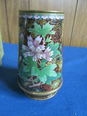 Vintage Chinese Cloisonne Vase Hand Made with Flowers IOB