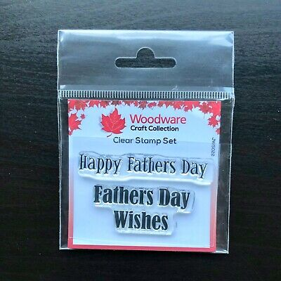 Woodware Happy Fathers Day Wishes Sentiment 2 Piece Clear Stamp Set Card Making
