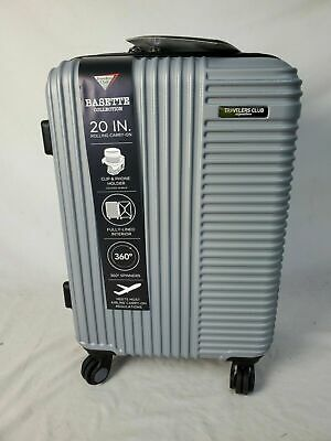 """New Travelers Club  Basette 20"""" Silver Luggage Spinner Carry On Cup Holder"""