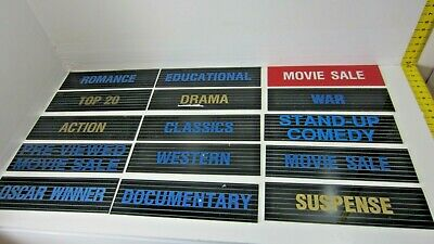 Lot 15 Vintage Video Rental Store Category Signs