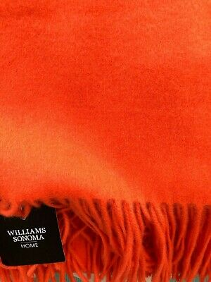 J Crew Home Wide-Striped 100/% Cashmere Throw Blanket 50x70 Red $299 NEW