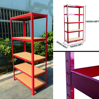 Garage Shed 5Tier Racking Storage Shelving Units Boltless Heavy Duty Shelves RED