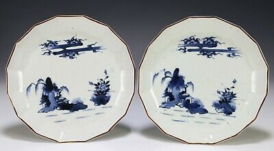 Pair of Antique Japanese Blue and White Porcelain Plates - 18c