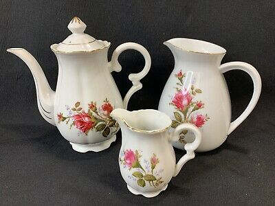 Vintage Old Rose Moss Pink Roses Floral Teapot with Large and Small Pitcher