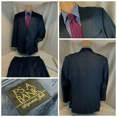 Jos A Bank Signature Gold Suit 44R Blue 2B 2V 38x28 Flat Tailor Fit YGI C0-396