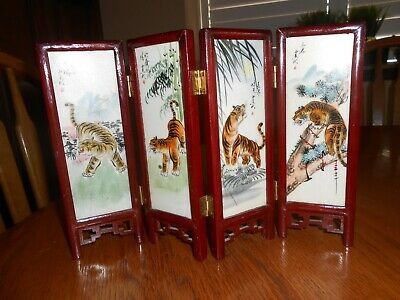 4 Panel Hand Painted Chinese Folding Screen For Table- Floral And Tiger