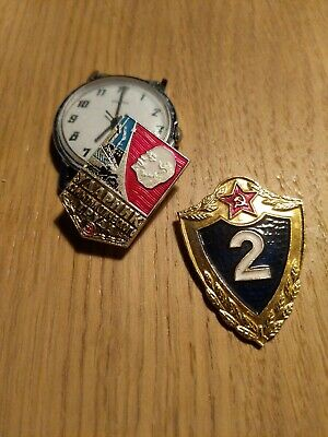 2 x Soviet Military Army Badges USSR RUSSIAN. Very good condition