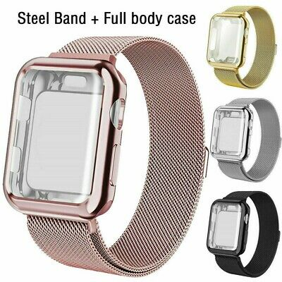 Apple Watch Series 5 4 3 2 1 Milanese iWatch Band Strap + Full Body Case Cover