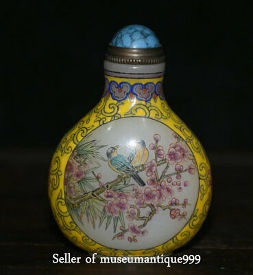 6CM Chinese plum blossom Bird Hand Painted Peking Enamel Glass Snuff Bottle