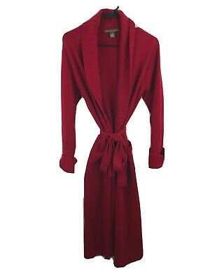 Saks Fifth Avenue Sz S 100% CASHMERE Long Sweater Cardigan Duster Red Open Front
