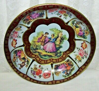 Daher Tin Bowl Tray Victorian Lovers and Floral Design Ten Inches