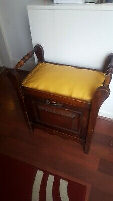Antique Vintage Piano Stool with Music Storage