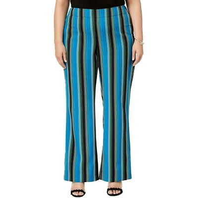 INC Womens Pants Blue Black Size 20W Plus Striped Wide-Leg Stretch $89 204