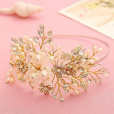 Gold Wedding Headband Bridal Flora Rhinestone Beaded Headpieces Hair Accessories