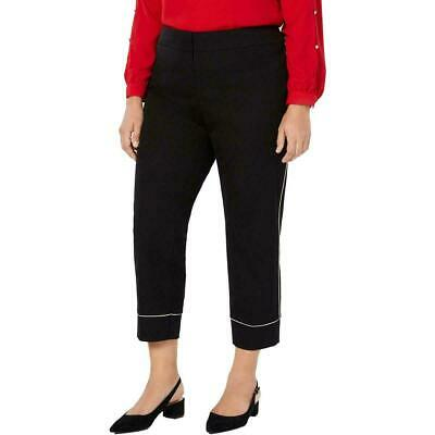 Alfani Womens Pants Black Size 20W Plus Flat-Front Piped Ankle Stretch $79 089