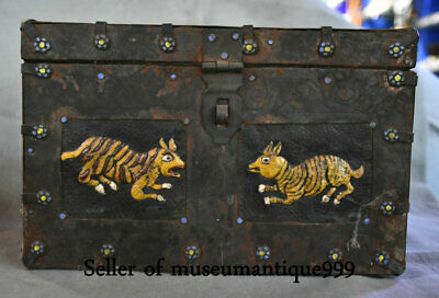 "11.2"" Ancient Tibet Bronze Painted Tiger Animal Religion jewelry Box chest bin"
