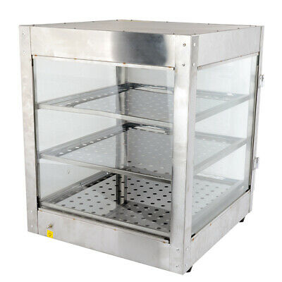 3-Tier Commercial Food Warmer Hot Pizza Pie Display Showcase Buffet Cabinet AU