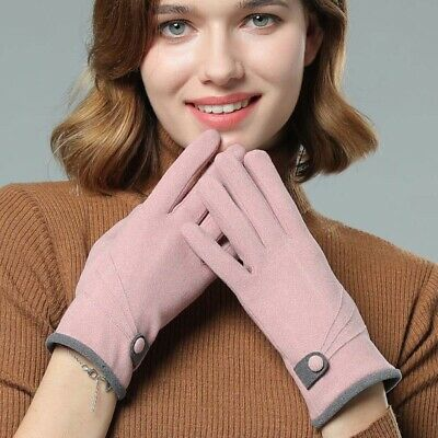 Solid Color Button Winter Gloves Five Finger Mitten Women Mitts Screen Mittens