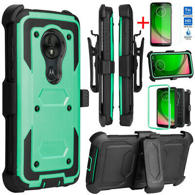 For Motorola Moto G7 Play Plus Power Shockproof Clip Holster Case+Tempered Glass