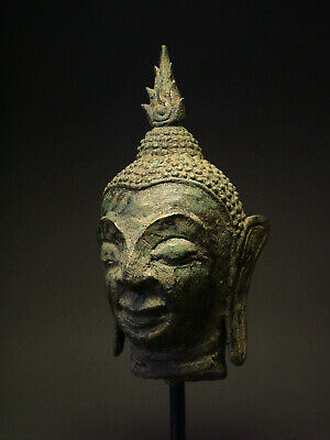 BRONZE LAOS BUDDHA 'LAN CHANG' HEAD FRAGMENT, LUANG PHRABANG PERIOD.17th/18th C.