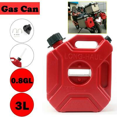 3L RED PLASTIC FUEL JERRY CAN PETROL DIESEL WATER 3 LITRE w/SPOUT and Brackets