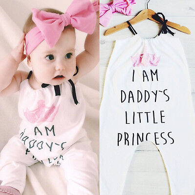 Newborn Daddy's Girl Toddler Baby Vest Romper Bodysuit Jumpsuit Outfit Headbands