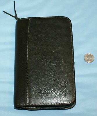 "Wilson Leather Zippered Clutch Wallet Planner Organizer Agenda Cover 5"" x 8"" EUC"
