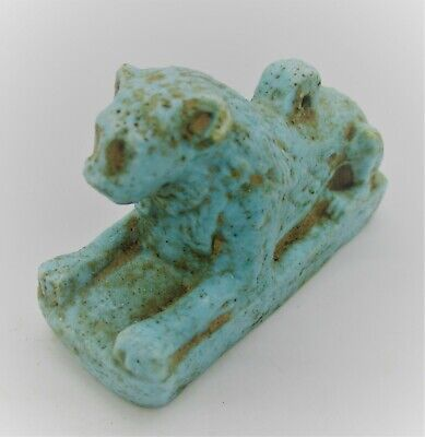Circa 600 Bce Ancient Egyptian Glazed Faience Sphinx Amulet Statuette