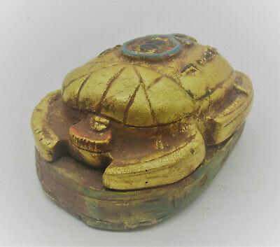 Museum Quality Ancient Egyptian Gold Gilded Stone Scarab Seal Finely Decorated