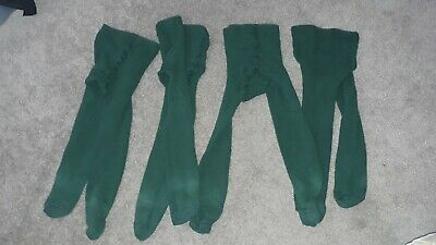 4 x pairs of Girls School Bottle Green Tights Age 3-4 years