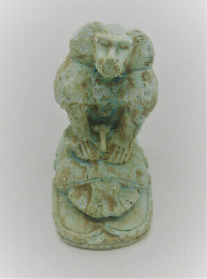 Circa 500 Bce Ancient Egyptian Glazed Faience Statue Thoth Seated On Scarab
