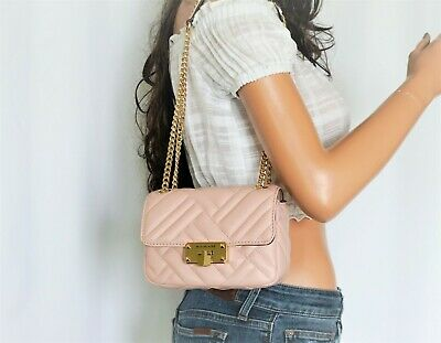 Michael Kors Peyton Small Shoulder Flap Crossbody Quilted Leather Bag Blossom