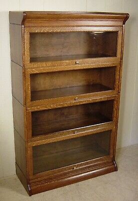 Antique Oak Gunn Furniture Co. 4 Section Stacking Bookcase