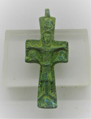 Circa 600-700Ad Ancient Byzantine Bronze Crusaders Cross Pendant Wearable