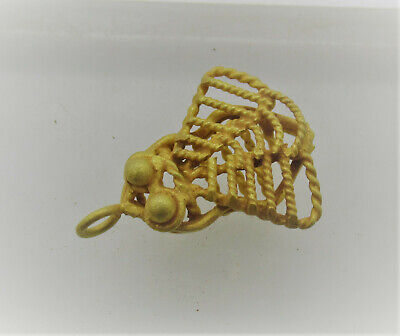 Circa 200-300Ad Ancient Roman High Carat Gold Cicada Fly Amulet Wearable