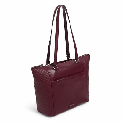 Vera Bradley Leather Burgundy Mulled Wine Carryall Tote Work Travel NWT