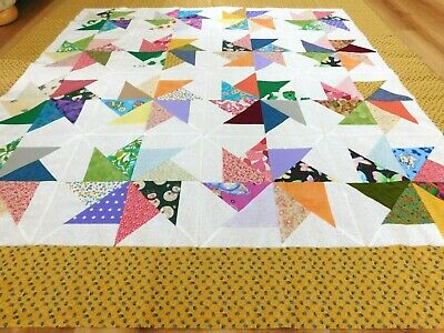 New scrappy pinwheel quilt top colorful blanket table cloth