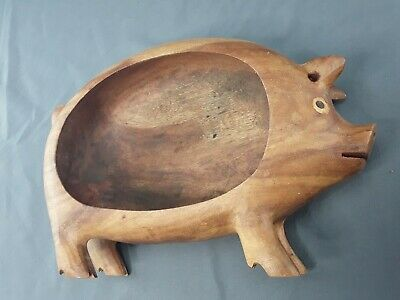 "Vintage 12"" L Carved Solid Wood Utility Pig Bowl Hand Wooden Decor Centerpiece"