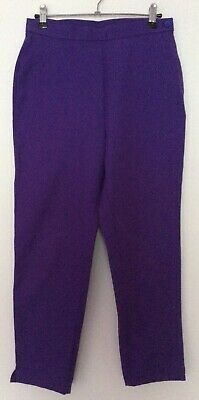 vintage 80s Freemans purple stretch side zip flat front tapered crop trousers 10