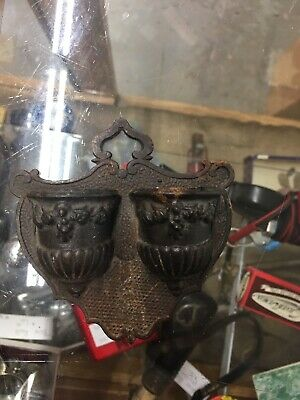 Antique Bradley And Hubbard Cast Iron Double Match Holder Safe Acorn  1800
