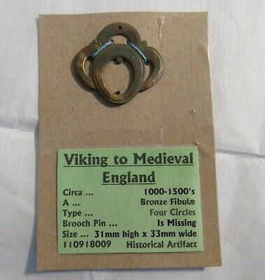 Viking England 1000-1500s Bronze Fibula Antique Brooch Archeological Find OLD