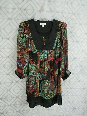 Fashion Bug Top Size L Multi Colors Pull Over V Neck Long Sleeve Casual Sheer