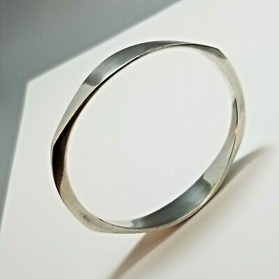 Hans Hansen Modernist Bangle Bracelet, Sterling Silver, 925S Denmark, Danish Mod
